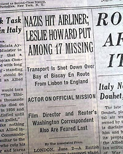 Leslie Howard Gone With The Wind Movie Actor Ashley Wilkes Killed 1943 Newspaper At Amazon S Entertainment Collectibles Store