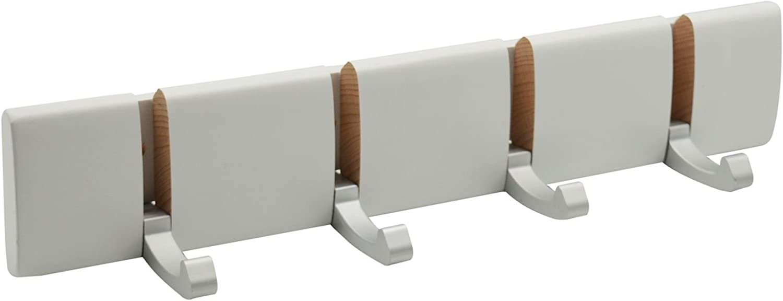 Perchero de pared con 4 brazos - Ganchos metálicos plegables - Madera - Blanco