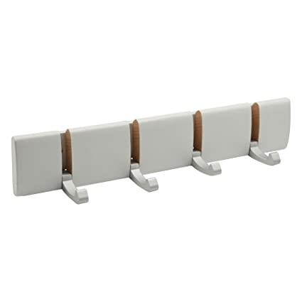 Harbour Housewares Perchero de pared - Ganchos plegables de metal - Blanco