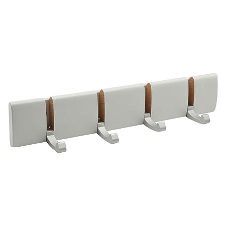 Harbour Housewares Perchero de pared - Ganchos plegables de metal - Blanco