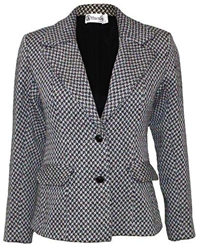 - Attuendo Women's Wool and Cotton-blend Bouclé Tweed Jacket (Medium (US Size:6))