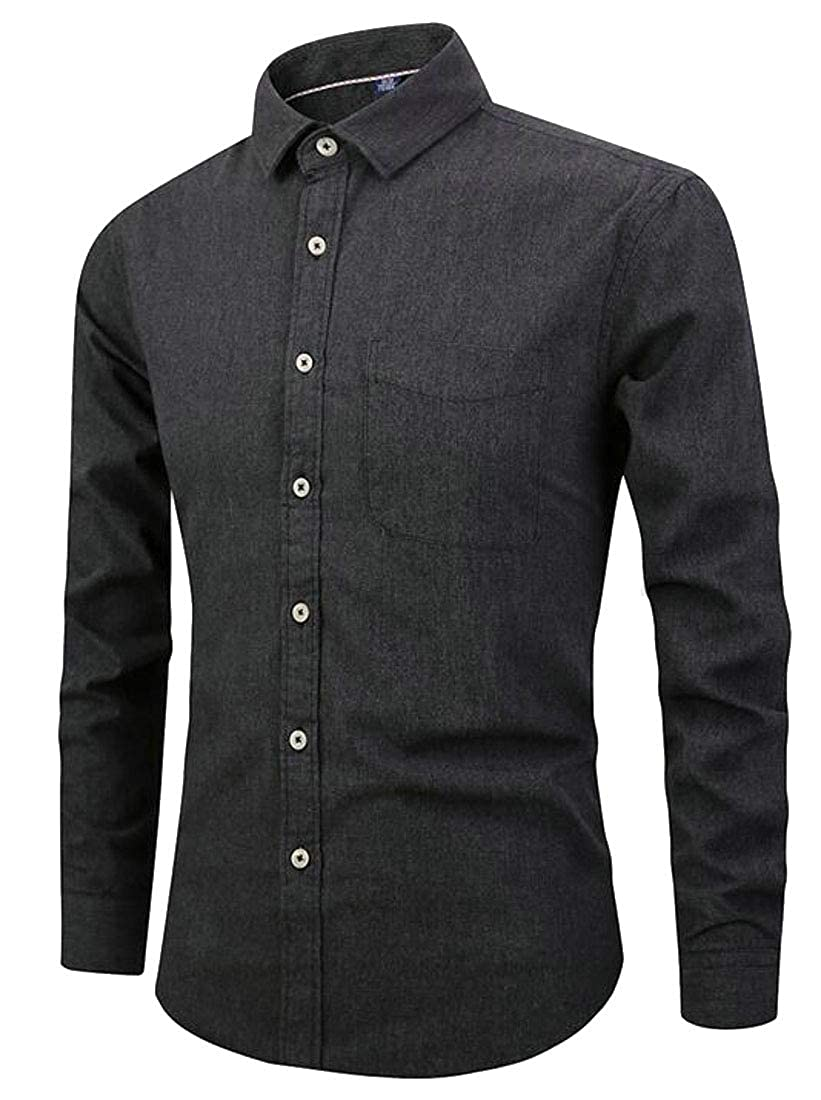 Sweatwater Men Slim Fit Business Casual Button-Down Long-Sleeve Shirt