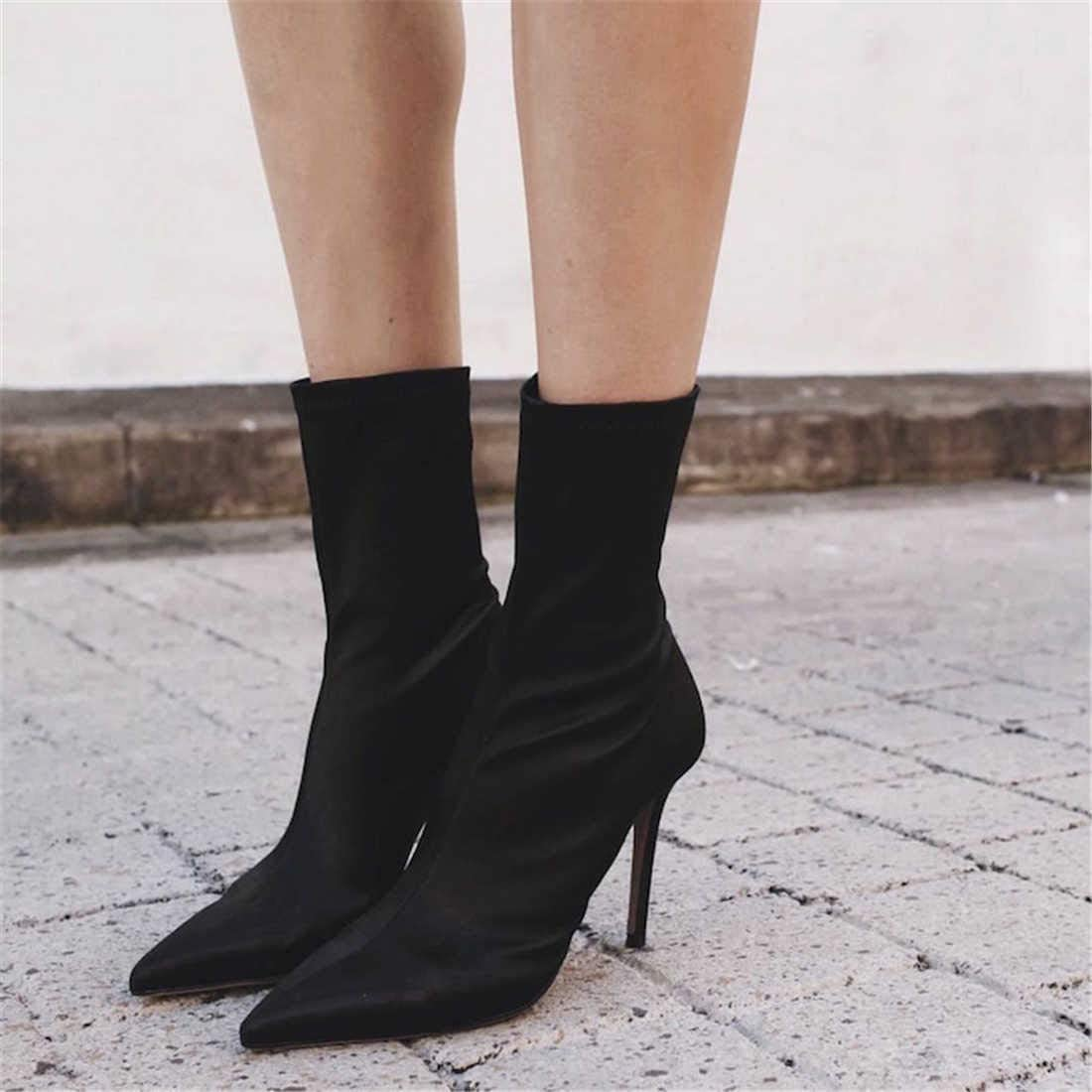 BZBZBZ 11Cm Stiletto Pointed Toe Ankle Boot Women Stretch Socks Boots Party Dress Shoes Eu Size 35-40 Black