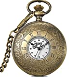 Men's and women's Quartz pocket watch,Waterproof Clamshell Carved case Roman numerals Retro pocket watch Pendant table Necklace table Students watch Old people-B