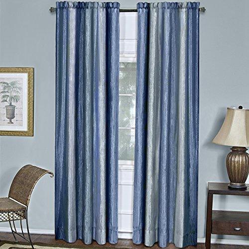 Designer Home Multi-Color Striped Modern Semi-Sheer Window Curtain Drape 2-Pack Panels (Blue, 50
