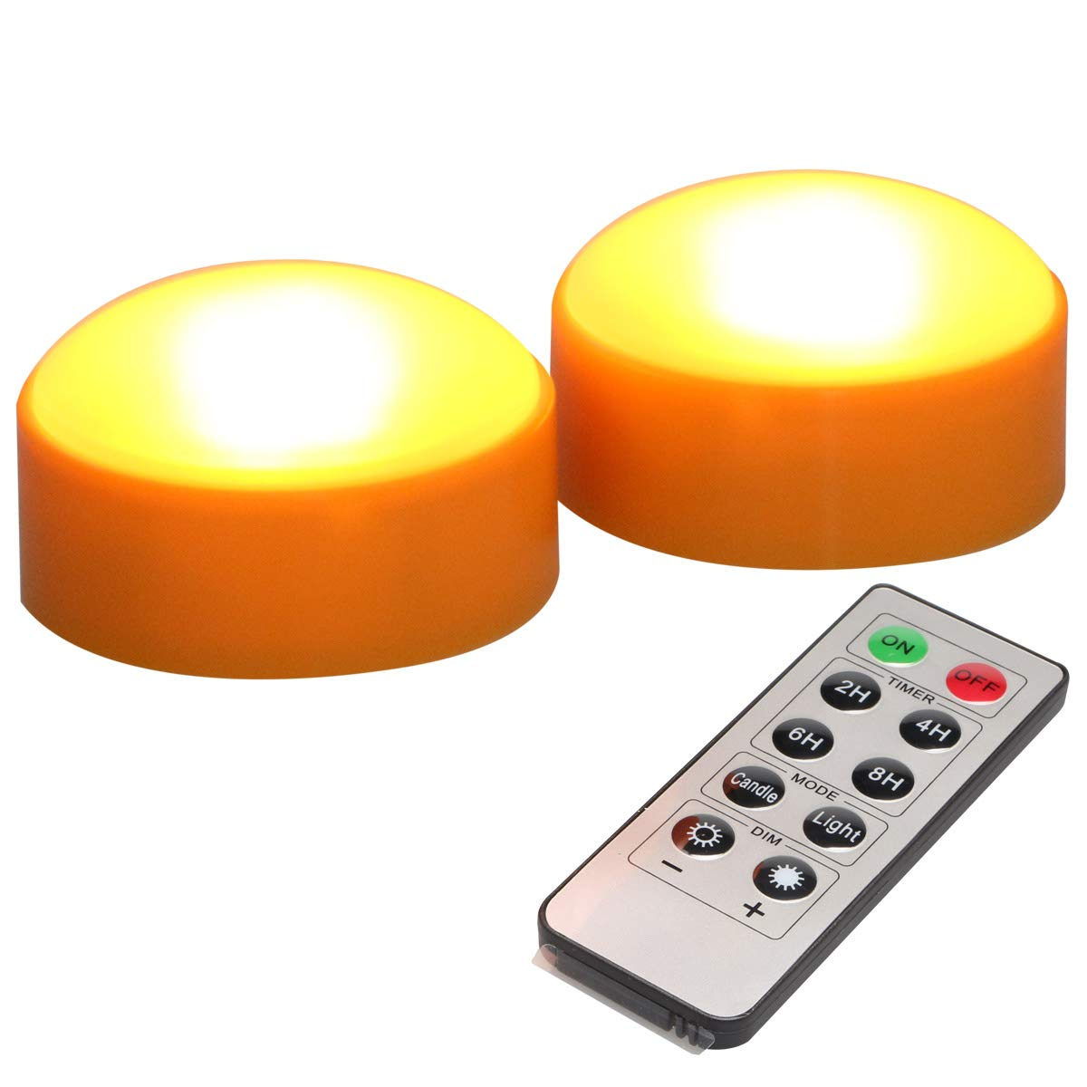 Battery Operated LED Pumpkin Lights with Romote & Timer, Set of 2 Flameless Candle Holder for Halloween Decorations-Orange