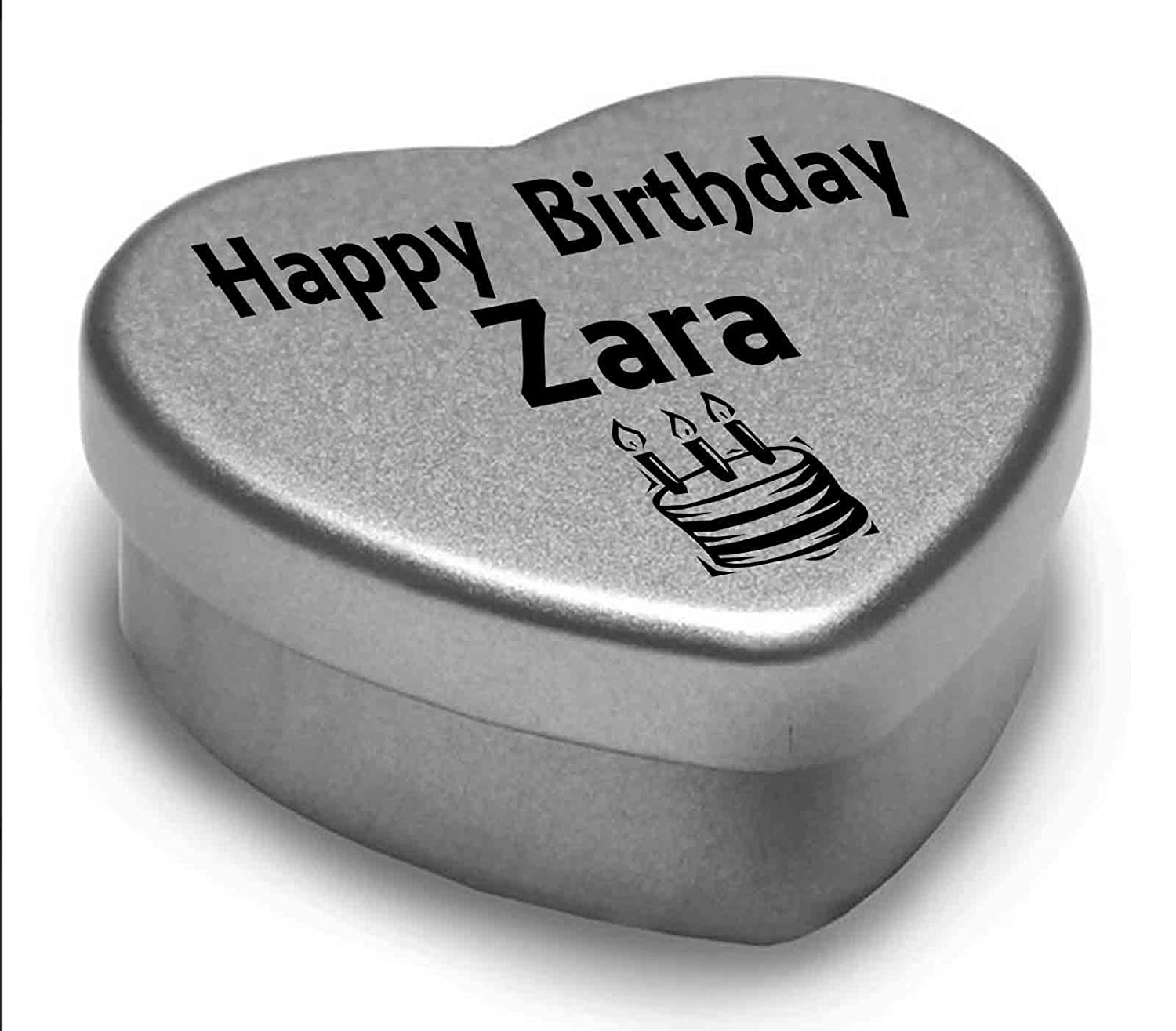 Happy Birthday Zara Mini Heart Tin Gift Present For Zara WIth Chocolates. Silver Heart Tin. Fits Beautifully in the Palm of Your Hand. Great Birthday Present To Show Somebody You are Thinking of Them. Gift In Can Ltd