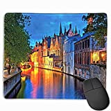 """Medieval Anime Mouse pad Night Shot of Middle Age Building Along The River Bruges Heritage Old Town Photo Custom Mouse pad 11.8""""x9.8"""" Multicolor"""