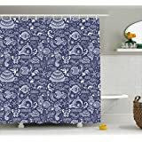 Under the Sea Shower Curtain by Ambesonne, Embellished Ocean Animals Shells Plants Seahorse Turtle Fishing Theme, Fabric Bathroom Decor Set with Hooks, 70 Inches, Navy Blue White