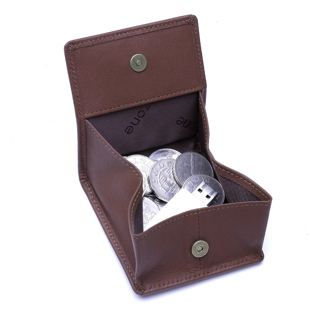 Amazon.com : Teemzone Leather Squeeze Coin Pouch Change ...