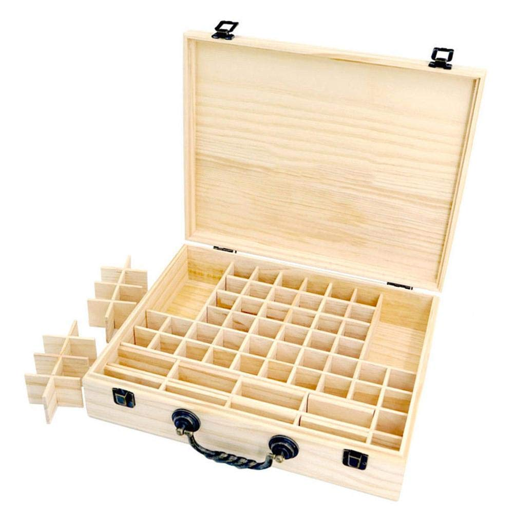 Essential Oils Storage Wooden Box - with 70 Slots for 5, 10, 15ml Bottles, Essential Oils Wooden Case Perfect for Display & Presentation (Natural) by Wind-Susu
