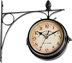 S28esong Double Sided Garden Outdoor Wall Clock,Metal Hanging Wall Mount Clock,Vintage Antique-Look Wall-Mounted for Indoor & Garden,21.8x21.8cm (White/Black)