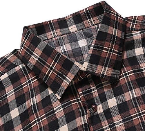 VITryst Men Casual Plaid Brushed Heavyweight Turn-down Collar Work Shirt