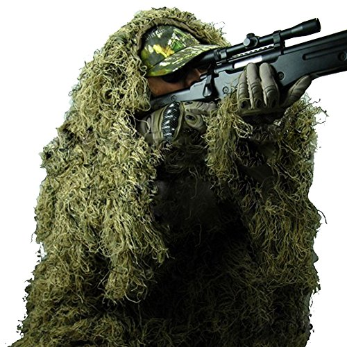 Ghillie Sniper Costume (Pinty Ghillie Suit 3D 4-Piece with Bag Camouflage Camo Tactical Hunting Forest Woodland Dark Green ML)