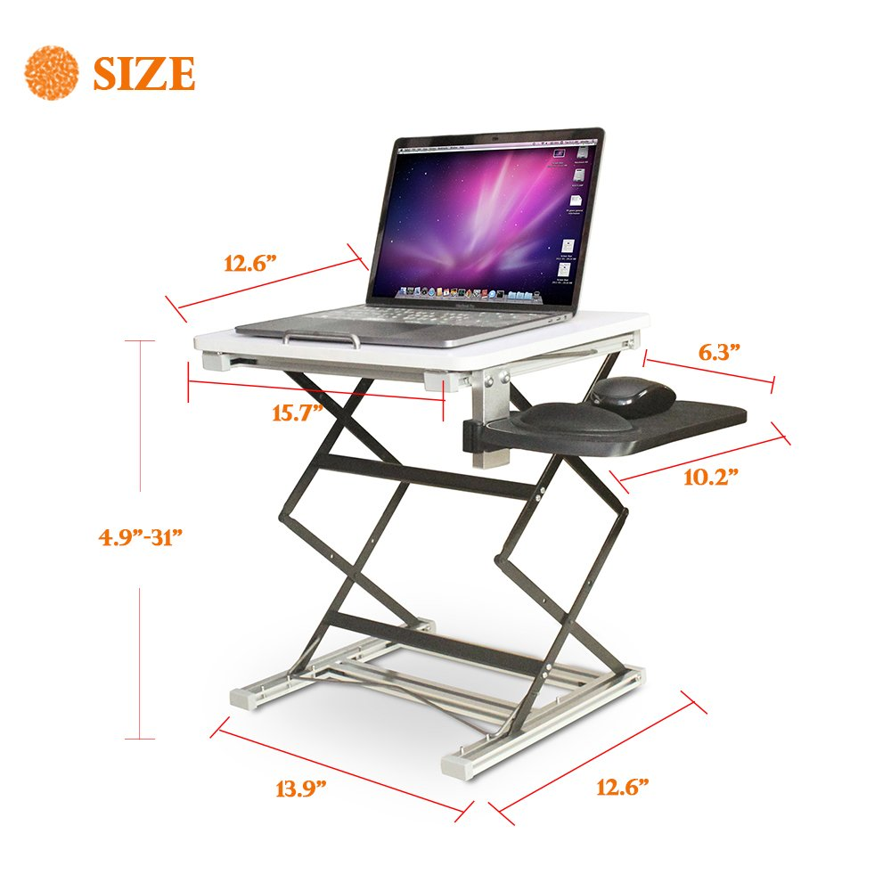 Annstory Laptop Desk, Portable Riser and Standing Table Adjustable Riser Height 4.9''-31'' Sit Or Stand Up Desk Easy Height Adjustments Table Office Desk Laptop Desk Tray by Annstory (Image #7)