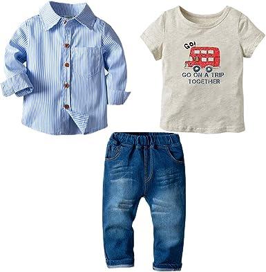 Bebé Niño Conjunto Gentleman Ropa Rayas Camisa + Impresión ...