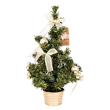 small gold decorated christmas tree