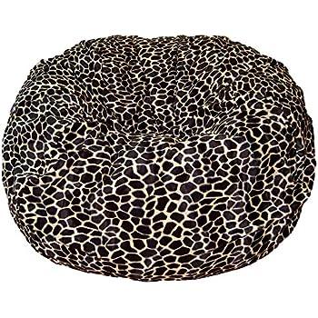 Ahh Products Tan Giraffe Animal Print Fur Washable Large Bean Bag Chair