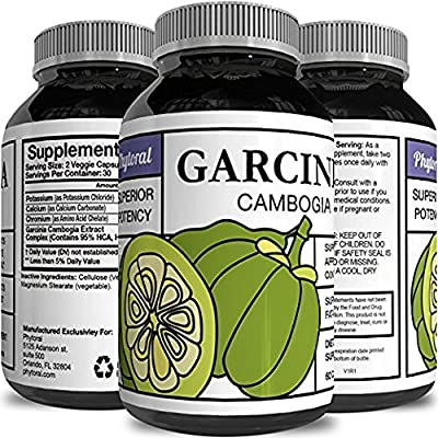 Pure Garcinia Cambogia Extract with 95% HCA Weight Loss Supplement - Natural Carb Blocker Diet Pills for Fast Fat Burn - Best Fast Acting Appetite Suppressant for Men & Women 60 Capsules - Phytoral