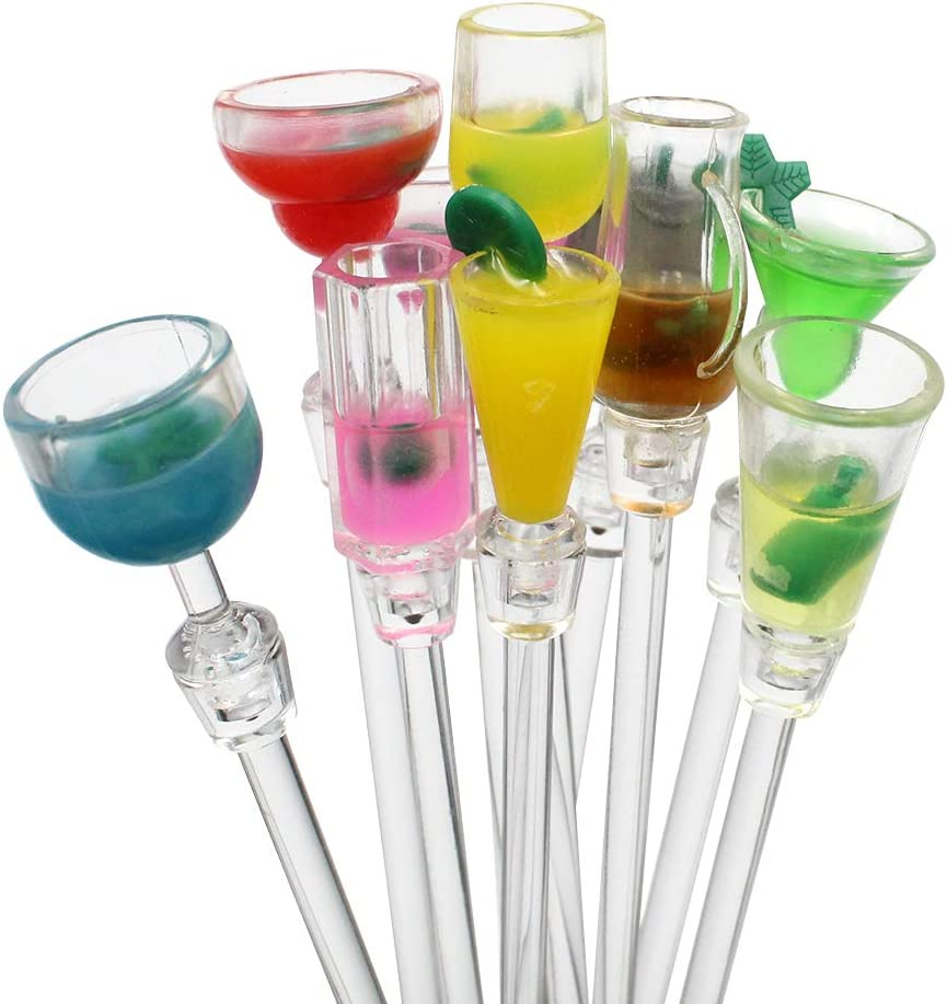 23cm 10 Pcs Bastoncini da cocktail Drink Agitazione Bastoncini Colorati Swizzle Mixing Sticks Plastica Cocktail Swizzle Stirrer