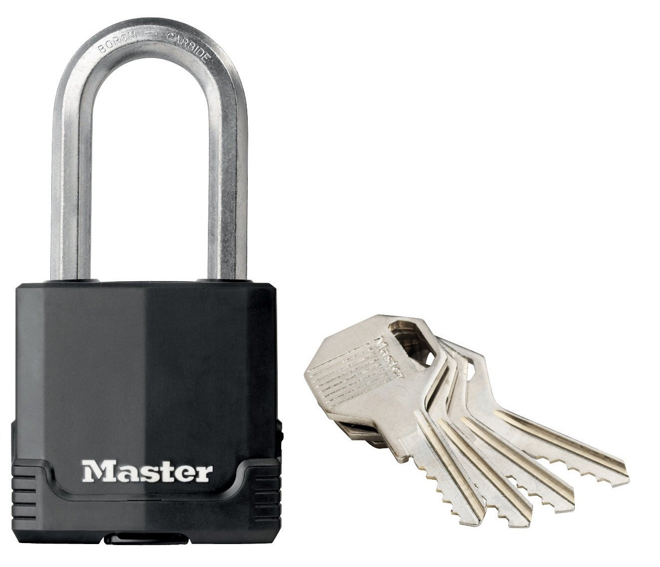 Master Lock Padlock, Excell Covered Laminated Steel Padlock, High Security Lock, Keyed Lock, Best Used for Storage Units, Sheds, Garages, Fences and More Masterlock M115EURDLF