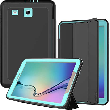 low priced 69e54 01268 SEYMAC Galaxy Tab E 9.6 Case, Full Body [Drop Protection] Rugged Heavy Duty  Case with Magnetic Folding Stand Cover Compatible with Samsung Galaxy Tab  ...