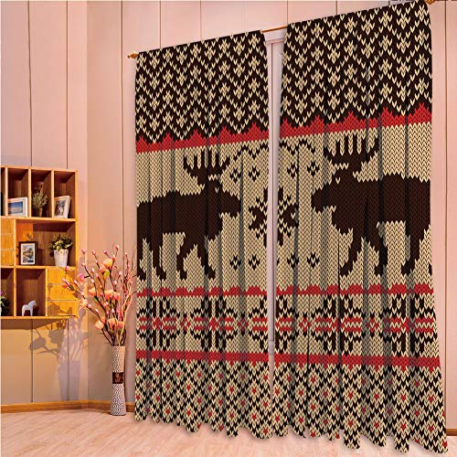 House Decor Collection Living Room Bedroom Curtain 2 Panels Set by,Cabin Decor,Knitted Swatch with Deers and Snowflakes Classic Country Plaid Digital Print Decorative,Brown Tan Red,108.3