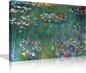 "Canvas Wall Art Water Lilies by Claude Monet Wall Decor-24""x36"" Piece Extra Large Contemporary Pictures Modern Canvas Prints Giclee Artwork Print Home Decor"