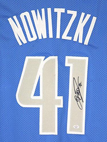 Dirk Nowitzki Dallas Mavericks Signed Autographed Blue #41 Custom Jersey PAAS - Mavericks Custom Dallas Jersey