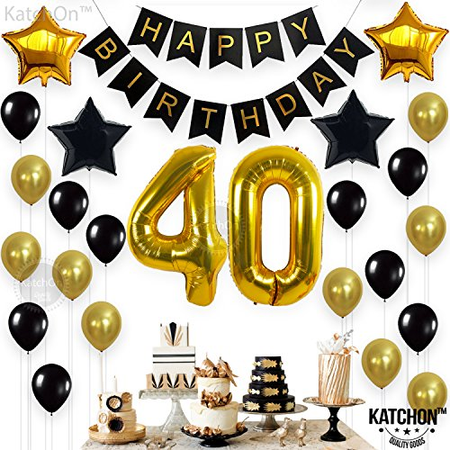 KATCHON 1 11 Decorations Happy Birthday Banner, 40th Balloons,Gold and Black, Number Perfect 40 Years Old Par, M by KATCHON (Image #1)