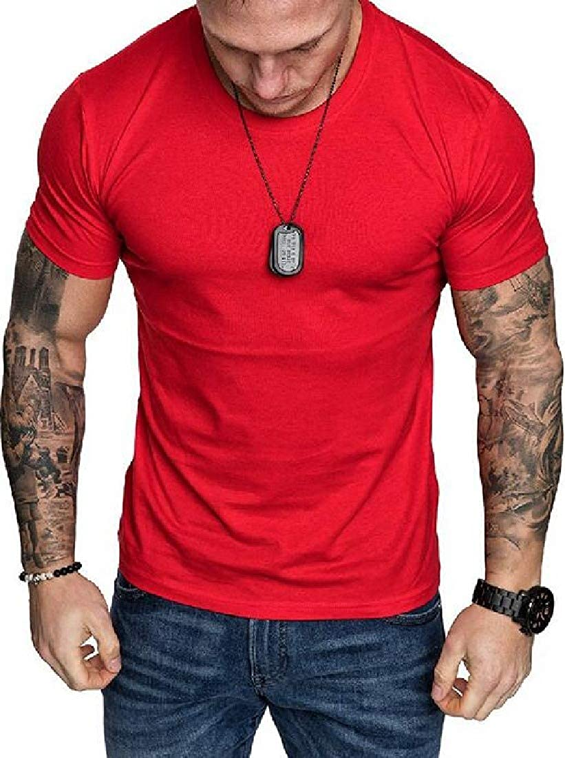 Zantt Men Loose Casual Pure Color Crew Neck Short Sleeve T-Shirt Tee
