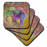 3dRose Andrea Haase Animals Illustration - Ethnic inspired elephant art in green yellow and purple - set of 4 Coasters - Soft (cst_262981_1)