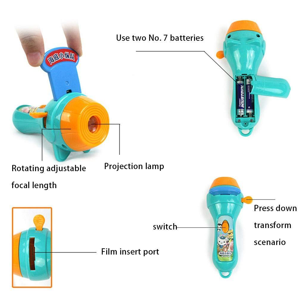 15 Piezas Linternas y Proyector Infantil Cuentos Linternas Proyector Infantil Juguetes Educativo Iluminaci/ón Infantiles para Ni/ños Ni/ñas Azul