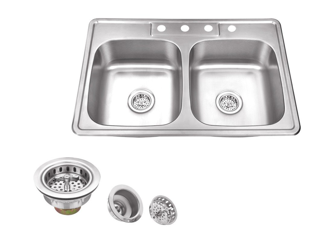 MSDP5050P, 33'' x 22'' Stainless Steel Drop In Double Bowl Kitchen Sink