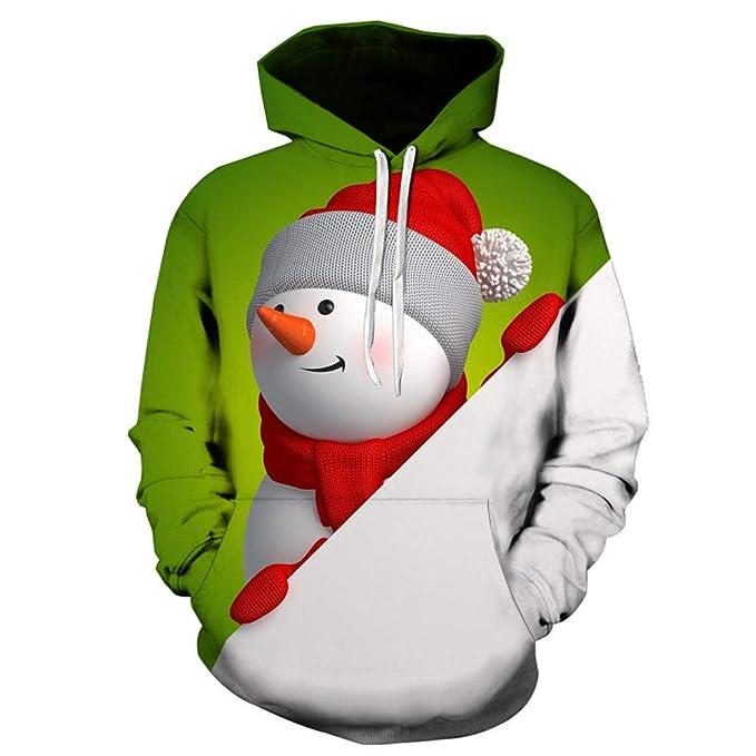 Hombres Sudaderas Rovinci Navideñas 3D Papá Noel Muñeco de Nieve Pullover Estampado de Manga Larga Sudaderas con Capucha Abrigos Blusas: Amazon.es: Ropa y ...