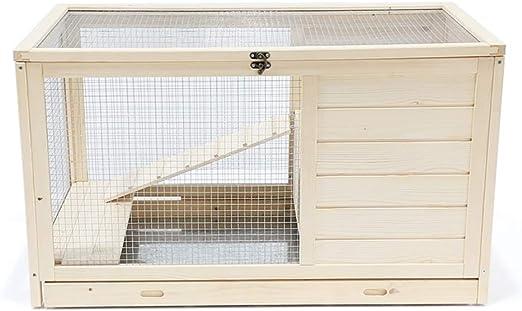 Jaula Conejo Interior con Escalera de Madera pequeño hámster Jaula de Alimentos for Mascotas fácil Montaje Animales pequeños Jaula de Registro del Color (Size : S-60×40×40cm): Amazon.es: Hogar
