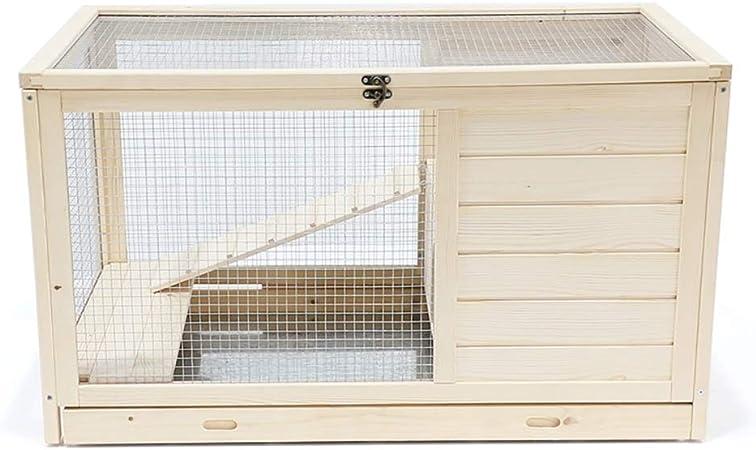 Jaula Conejo Interior con Escalera de Madera pequeño hámster Jaula de Alimentos for Mascotas fácil Montaje Animales pequeños Jaula de Registro del Color (Size : M-90×54×51cm): Amazon.es: Hogar