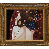 overstockArt Klimt Sea Serpents IV Oil Painting with Black Crackle King Frame