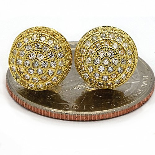 Men's Gold Tone ICED OUT Micropave 3D Dome Cz Earring Stud Round Screw Back Hip Hop by L & L Nation (Image #3)