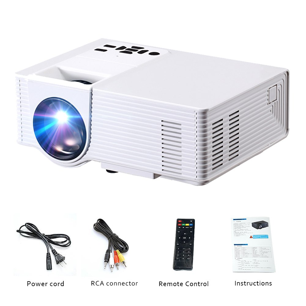 Projector ,1600 Lumens LED Full HD Mini Projector Support 1080P .Compatible with HDMI/USB/TF/VGA/AV, Multimedia Home Theater LCD Video Projector