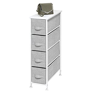 mDesign Narrow Vertical Dresser Storage Tower - Sturdy Metal Frame, Wood Top, Easy Pull Fabric Bins - Organizer Unit for Bedroom, Hallway, Entryway, Closet - Textured Print, 4 Drawers - Gray/White