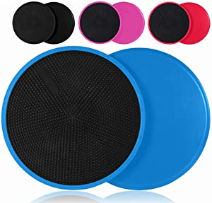 Alisun Exercise Sliders for Carpet or Hardwood [2020 Upgrade]-Dual Sided Core Sliders for Ab Workouts-Powerful and Portable Fitness Gliders Discs for Women/Man at Home or Gym (2Pack)