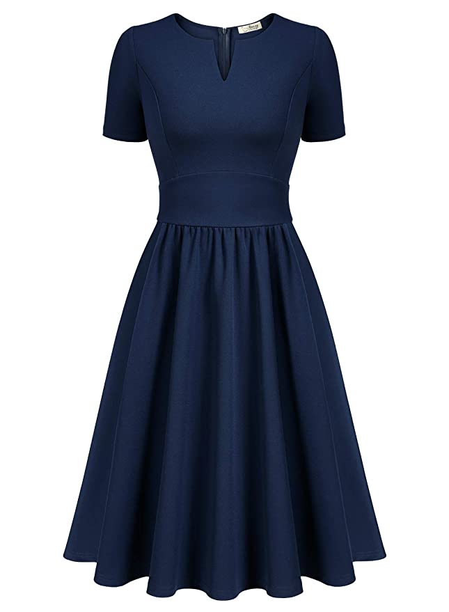 1940s Day Dress Styles, House Dresses AISIZE Women 1950s V-Neck Cocktail Wedding Swing Midi Dress $33.99 AT vintagedancer.com