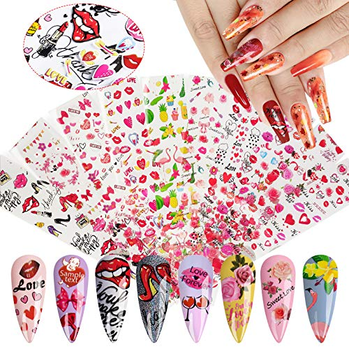 10 Sheets Valentine's Day Nail Art Foil, Kalolary Transfer Decals Nail Foils Nail Art Stickers Sexy Lip Heart Flower…