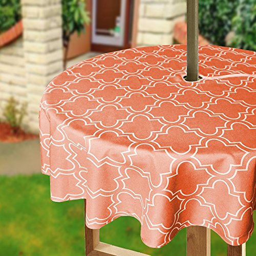 Eforcurtain Modern Geometric Floral Outdoor Fabric Table Cover with Zipper and Umbrella Hole, Durable 60 Inch Round Table Cloth Waterproof Spill Proof, Orange and White (Tablecloth Outdoor Hole With Umbrella For)