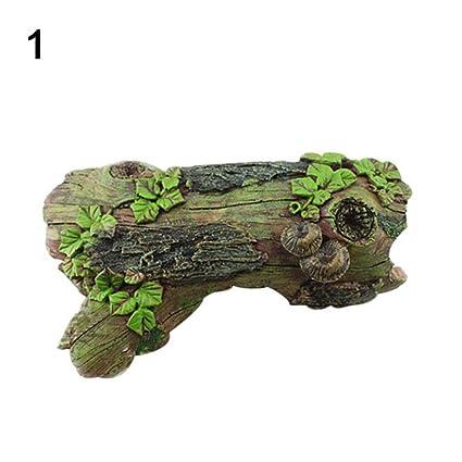 kangql Tortuga para pecera, tortuga de mascota, simulación de resina de madera de deriva