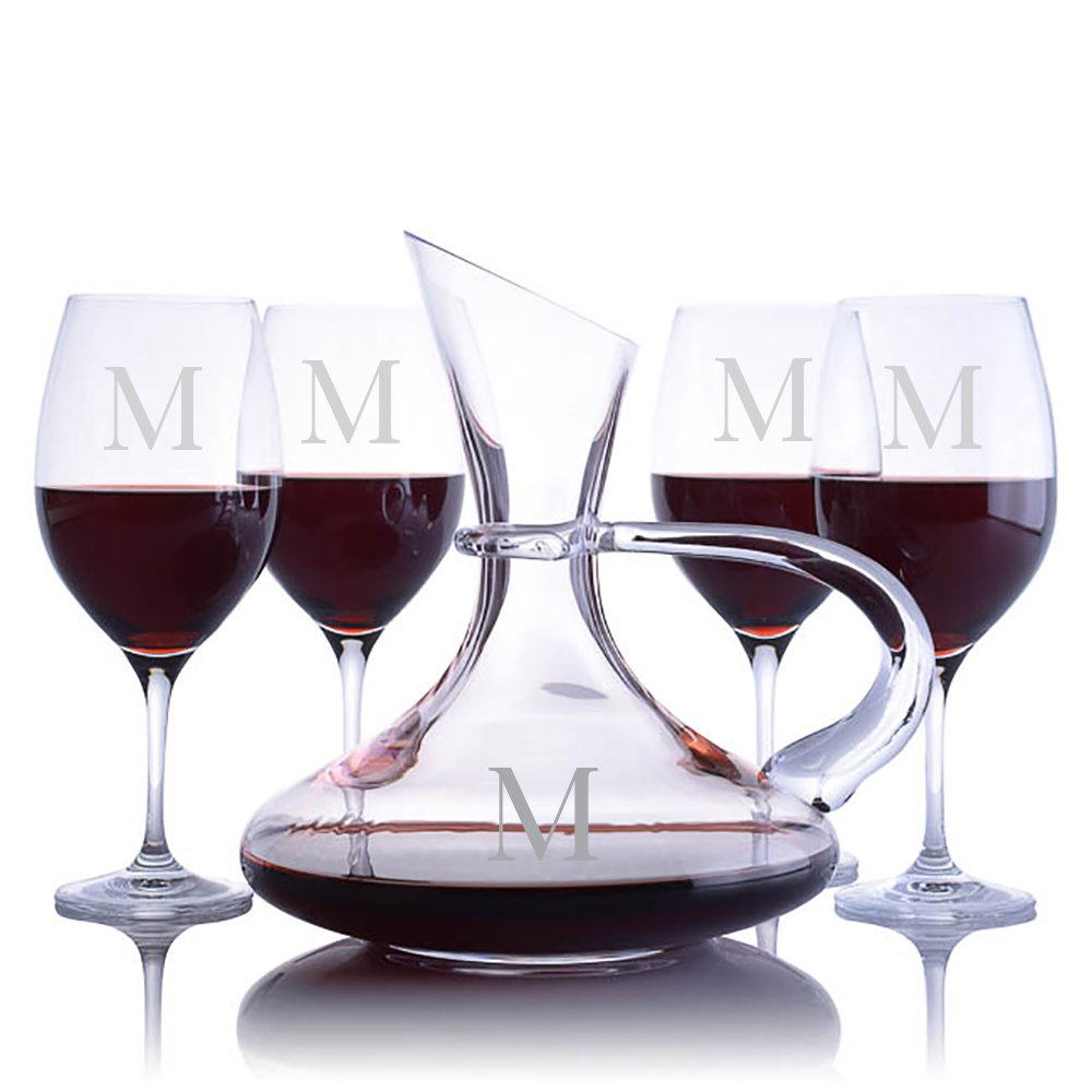 Personalized Ravenscroft Lead-free Crystal Handled Captains Wine Decanter & 4 Stemmed Vintner's Choice Bordeaux/Merlot/Cabernet Red Wine Glasses Engraved & Monogrammed - Gift for Mother's Day