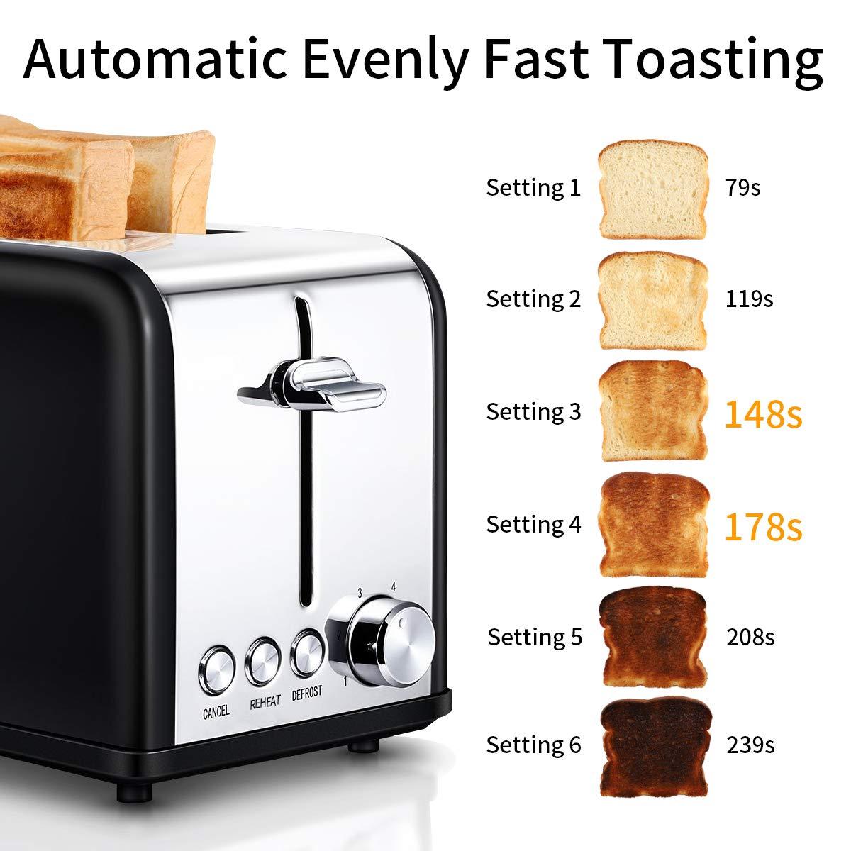 Toaster, 830 W Automatik-Toaster Doppelschlitz mit herausnehmbarem Krümelschublade, 6 Bräunungsstufen, Defrost Funktion, Edelstahl Brötchenwärmer