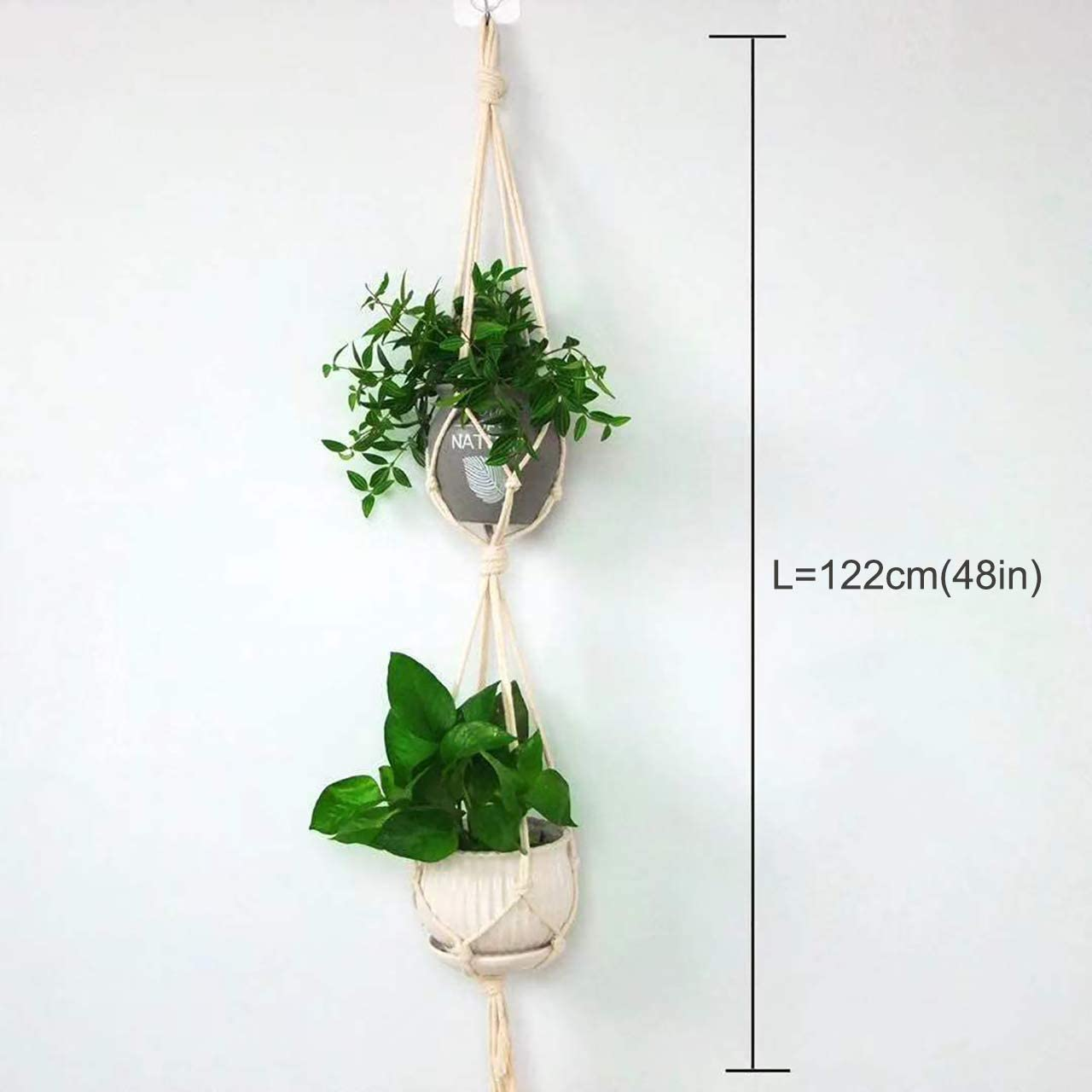 2pcs 2Tier 48 Macrame Plant Hanger Hanging Planters Pot Holder for Indoor Outdoor Plants,Strong and Durable Handmade Flower Pot Gardening Decoration with 2 Ceiling Hooks