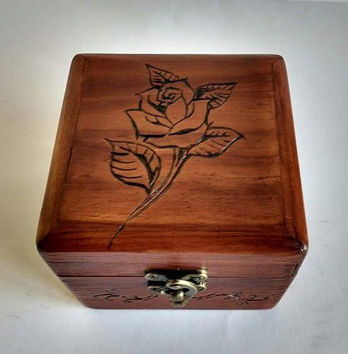 Caja - joyero de madera reciclada de palet con grabado pirográfico ...